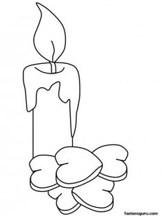Printable Valentines Day Candle coloring sheet for kids - Printable Coloring Pages For Kids
