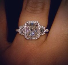 My dream engagement ring. Shine bright like a diamond. 3 Diamond Engagement Rings, Halo Diamond, Diamond Rings, Halo Engagement, Diamond Necklaces, Diamond Jewellery, Silver Jewellery, Bling Wedding, Wedding Jewelry
