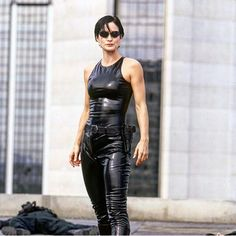 "Carrie -Anne Moss as Trinity in ""The Matrix"". Costumes designed by Kym Barrett"