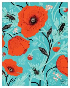 POPPIES & BEETLES // 8 x 10 print - Made By Perrin - $20
