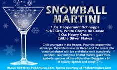 SNOWBALL CHRISTMAS MARTINI RECIPE on a Free Recipe Card - Click the image for the Full Sized, Print Quality Recipe Card!
