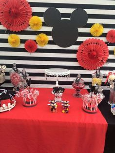 Modern Mickey Mouse birthday party! See more party ideas at CatchMyParty.com!