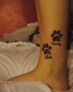 ideas dogs paw tattoo with name