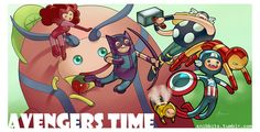 What Time is it? Adventure Time + Avengers Print for Barcelona Con Avengers Time Avenger Time, Avengers Art, What Time Is, Coincidences, Loki, Adventure Time, Captain America, Bowser, Marvel