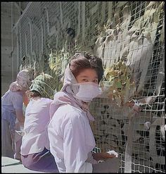 The women are making camouflage netting for the U.S. military. Colorized by Steve Smith from the original black and white. #internees #worldwar2 #arizona #localhistory #1940s #women #facemasks #camouflage