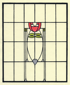 This stained glass design from 1907 was inspired by Glasgow and German abstraction and conventionalization. It became the basis for the reception room window in the Roycroft Inn. Stained Glass Rose, Stained Glass Designs, Stained Glass Projects, Stained Glass Patterns, Stained Glass Windows, Leaded Glass, Mosaic Glass, Art Nouveau, Tiffany
