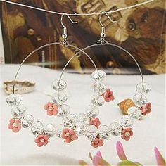 [US $1.25]EJEW-JE00278-06 - Fashion Basketball Wives Earrings, With Flower Handmade Porcelain Beads, Abacus Glass Beads And Brass Earring Ho...