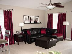 Great Chocolate Brown And Red Living Room