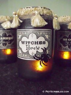 Vintage Potion and Spell Jars for Halloween! (Excellent tutorial on how to make your own step by step with pictures!)