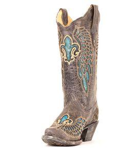 Women's Distressed Black/Turquoise Fleur de Lis Boot - R2337