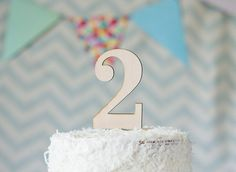 """Second Birthday Cake Topper - """"2"""" for 2nd Birthday Party, Wooden Rustic Cake Topper"""