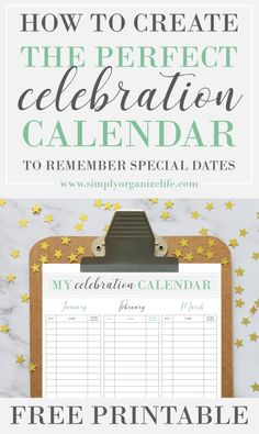 Never forget a special celebration again, with your FREE PRINTABLE Celebration Calendar Creator. Perfect for remembering birthdays, anniversaries and other special days. My Calendar, Life Organization, Organizing, Working On It, Self Improvement Tips, Time Management Tips, Inspire Others, Best Self