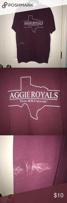 Texas A&M comfort colors shirt Medium maroon comforts colors shirt. Aggie Royals. Bought at A&M warehouse in CSTAT. Loss of color on front as shown in picture. I assume it happened in the wash or something. Haven't worn this shirt in awhile so honestly don't remember what happened. Texas A&M Tops