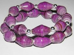 Paper beads bracelet set Uganda paper beads by TheRottenRooster, $14.00