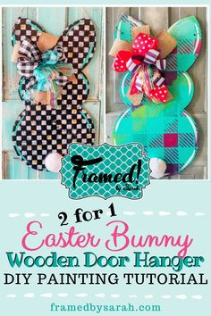 No matter your style, one of our Bunny Door Hangers will be the perfect addition to your Easter decor!  A 2 for 1 Door Hanger Painting Tutorial. Follow along step by step to create one for yourself. I had never done this sponge painted rainbow effect before! Why wouldn't I try it out LIVE with you all first?! Which of these Bunny Door Hanger could you see hanging on you front door to celebrate the Easter season? #framedbysarah #easterdoorhaner How to Paint a DIY Easter Bunny Wooden Door… Wooden Door Signs, Wooden Door Hangers, Diy Wood Signs, Painted Wood Signs, Painted Doors, Wooden Doors, Diy Porch, Diy Easter Decorations, Easter Season