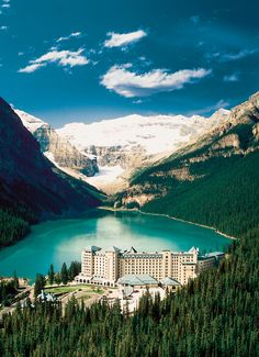 Lake Louise, Canada, stayed in that hotel and paul me and kimbles canoed to the far end of the lake!