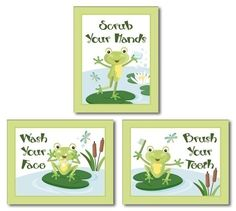 Kids bathroom... its all frogs now anyways and this is super cute!  Kids Wall Art Nursery Decor Froggy Frog Set of 3 by smileywalls