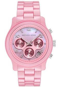 Michael Kors Women's Chronograph Pink Mother Of Pearl Dial Pink Ceramic Watch and other apparel, accessories and trends. Browse and shop related looks. Pink Love, Pretty In Pink, Pink And Green, Mickeal Kors, Tout Rose, Everything Pink, Patek Philippe, Zuhair Murad, Marchesa