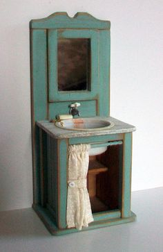 Miniature Shabby Aqua Sink 1 inch dollhouse by MarquisMiniatures  Use with plumber doll