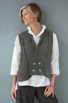 Crossover Vest by Amy Brill Sweaters (Sweater) Diy Crochet And Knitting, Crochet Coat, Hand Knitting, Love Crochet, Wool Vest, Knit Vest, How To Purl Knit, Ladies Day, Knit Patterns
