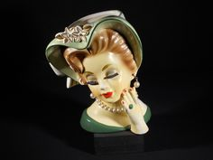 Vintage Rubens Lady Head Vase my mom has a pink one of these! So cool!