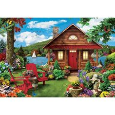 Masterpieces Lazy Days Waterfront - Lakeside Cottage 750 Piece Jigsaw Puzzle by Alan Giana, Multicolor Fabric Softener Sheets, Log Cabin Furniture, Lakeside Cottage, Lakeside Ohio, Waterfront Cottage, Fun Activities To Do, Fun Challenges, Cross Paintings, Jigsaw Puzzles