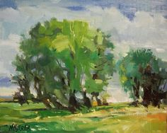 Cottonwood Sketch- plein air in Montana, original painting by ...