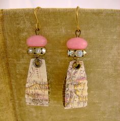 Off the Map - Vintage Hand Cut Map Tin Rhinestones Pink Recycled Repurposed Upcycled Earrings. $34.99, via Etsy.