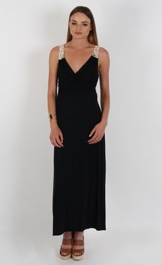 Jersey Crochet Back Maxi Black