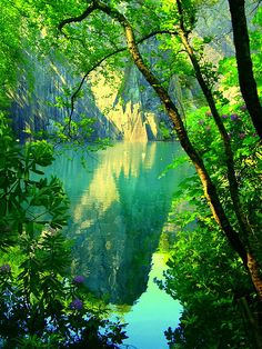 Reflection In The Blue/Green Diving Pool..Llanberis..North Wales by PrestonWalesUK, via Flickr