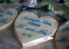 Heart Shaped Cookies for a Rehearsal Dinner -- SomersetCakes.com
