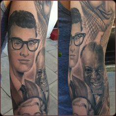 Pretty Cool Buddy Holly, Louis Armstrong Portrait Tattoo By Pete Thethief, Brighton UK