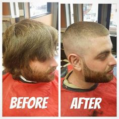 Before After Hair, Before And After Haircut, Cool Haircuts, Haircuts For Men, Men's Haircuts, Short Hair Cuts, Short Hair Styles, Barber Shop Haircuts, Beard Haircut