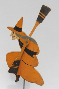 wonderful ca wicked witch form wooden carved whirligig in fabulous orig orange, black & gray paint - tall. on Sep 2013 Retro Halloween, Spooky Halloween, Halloween Images, Holidays Halloween, Halloween Crafts, Wooden Halloween Decorations, Wicked Witch, Wood Carving, Folk Art