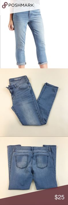 "Gap 1969 girlfriend cut light wash jeans 27 Gap 1969 girlfriend cut light wash jeans. Some stretch. Worn once. Size 27r. 15.5""-16.5"" across waist, 9"" rise and 27.5"" inseam. GAP Jeans"