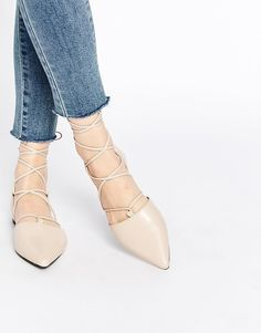 Senso | Senso Gordon Nude Leather Ghillie Pointed Toe Shoes at ASOS