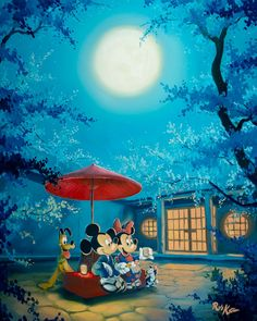 """Summer Night"" by Rob Kaz, Disney Fine Art with Mickey Mouse, Minnie Mouse, and Pluto Disney Mickey Mouse, Walt Disney, Disney Couples, Mickey Mouse And Friends, Cute Disney, Disney Magic, Disney Pixar, Orlando Disney, Mickey Mouse Wallpaper"