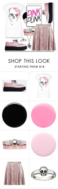 """""""Pink Punk 🤘💗💋"""" by teryblueberry ❤ liked on Polyvore featuring T.U.K., River Island, Deborah Lippmann, JINsoon, Alexander McQueen, Nails Inc., Topshop, King Baby Studio and Black Pearl"""