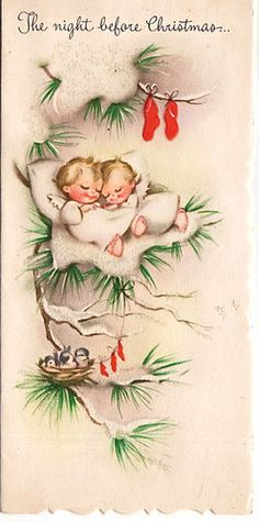 """""""The Night Before Christmas"""" Vintage Card. This card has a gentle touch to it, which draws one right in to the spirit of the season"""