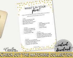 What's In Your Phone Bridal Shower What's In Your Phone Gold Confetti Bridal Shower What's In Your Phone Bridal Shower Gold Confetti CZXE5 #bridalshower #bride-to-be #bridetobe