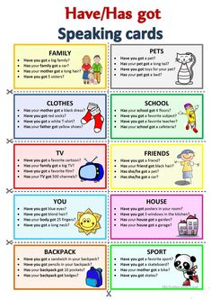 HAVE HAS GOT Speaking cards worksheet Free ESL printable worksheets made by teachers Education educacion English Teaching Materials, Learning English For Kids, Kids English, English Writing Skills, English Language Learning, Teaching English, Activities In English, Korean English, Primary English