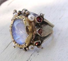 Moonstone and Pearls gemstones queen ring by yifatbareket