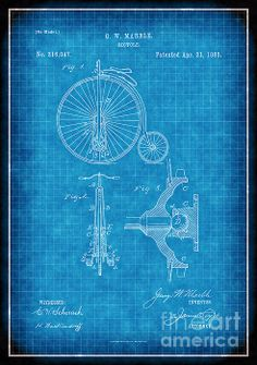 1885 bicycle patent drawing (No. white lines on blue background