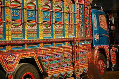 Pakistani truck drivers have a long tradition of painting their vehicles.