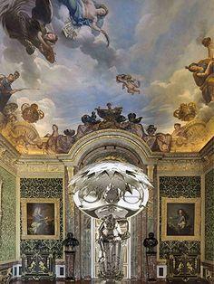 Murakami at Versailles: The Oval Buddha Silver (2008) in the Hercules Salon of Versailles Palace
