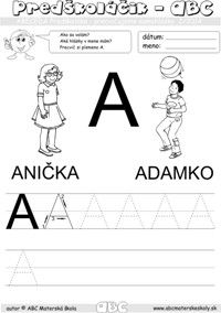Abeceda predškoláka - samohláska A  - pracovný list ABC pre mš