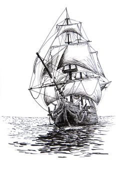 117 Best Ship drawing images in 2019 Pirate Ship Drawing, Boat Drawing, Ship Sketch, Pen Sketch, Old Sailing Ships, Tattoo Set, Tiny Tattoo, Small Tattoos, Tattoo Pics