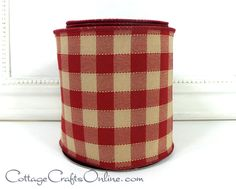 Full Roll LUXE Designer Ribbon: Available In 2.5 X 10yds AND 4 X 10yds Faux Dupioni Dark Tan Plaid Design wRed Wire Edge Trim 2 Sizes