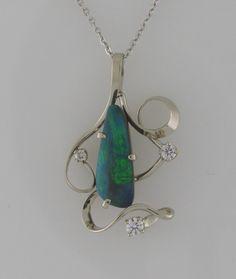 White Gold Opal Diamond Pendant by Nick King