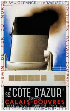Cote d'Azur vintage poster reproduction cross channel ferry